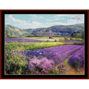 Lavender Fields in Old Provence - Custom cross stitch pattern by Cross Stitch Collectibles | Crafting | Cross-Stitch | Wall Hangings