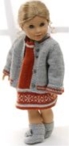 dollknittingpattern 0158d lerke - dress, pants, jacket, hat and socks-(english)