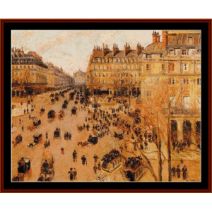 Place du Theatre, Sun Effect - Pissarro cross stitch pattern by Cross Stitch Collectibles | Crafting | Cross-Stitch | Wall Hangings
