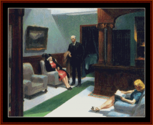 Hotel Lobby - Edward Hopper cross stitch pattern by Cross Stitch Collectibles | Crafting | Cross-Stitch | Wall Hangings