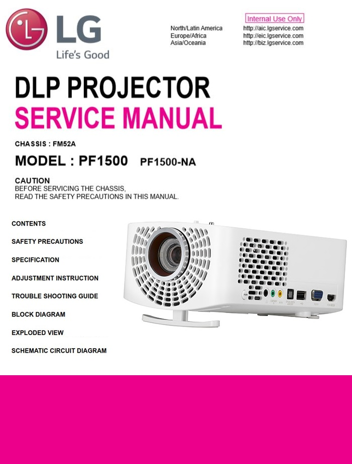 LG PF1500 Projector Factory Service Manual & Repair Guide | eBooks | Technical