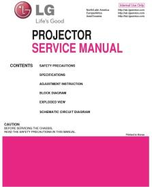 lg ph300w projector factory service manual & repair guide