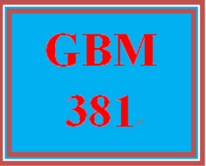 GBM 381 Entire Course | eBooks | Education