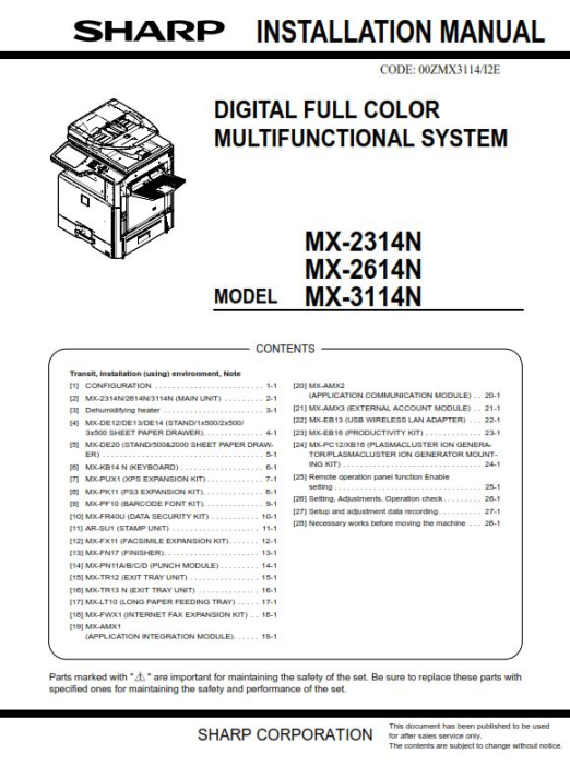 Third Additional product image for - Sharp MX 2314N 2614N 3114N Full Service Manual Download