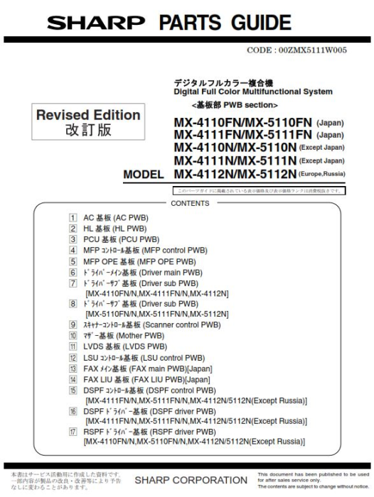Second Additional product image for - Sharp MX 4110N 5110N Full Service Manual Download