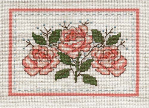 Coral Rose Picture | Crafting | Cross-Stitch | Floral