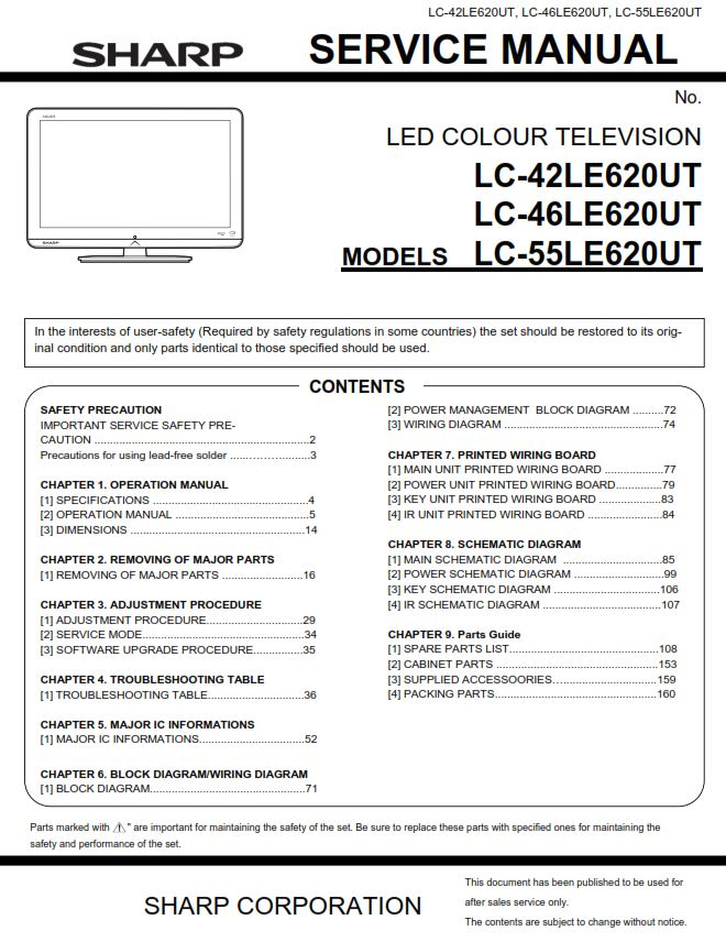 Sharp LC 42LE620UT 46LE620UT 55LE620UT Service Manual & Repair Guide | eBooks | Technical