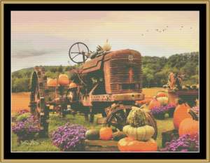 the harvester cross stitch pattern by mystic stitch
