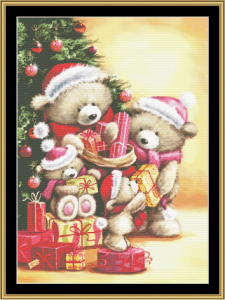 bear family christmas  cross stitch pattern by mystic stitch