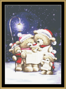 caroling family cross stitch pattern by mystic stitch