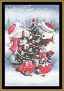 bear family xmas ii cross stitch pattern by mystic stitch