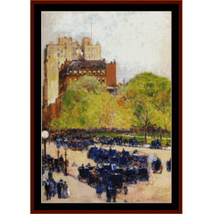 spring morning in new york - childe-hassam cross stitch pattern by cross stitch collectibles