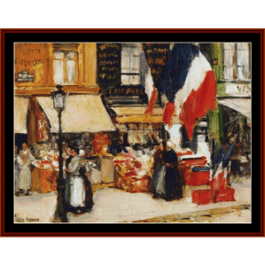 Bastille Day - Childe-Hassam cross stitch pattern by Cross Stitch Collectibles | Crafting | Cross-Stitch | Wall Hangings