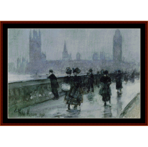 Westminster Bridge - Childe-Hassam cross stitch pattern by Cross Stitch Collectibles | Crafting | Cross-Stitch | Wall Hangings