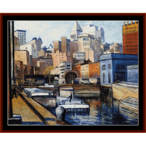 Downtown nY, 1922 - Halpert cross stitch pattern by Cross Stitch Collectibles | Crafting | Cross-Stitch | Wall Hangings