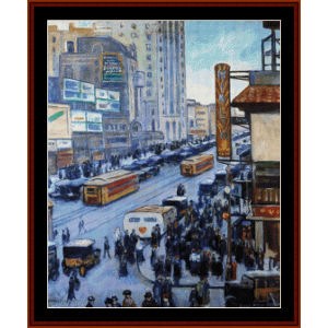 times square, ny 1923 - halpert cross stitch pattern by cross stitch collectibles
