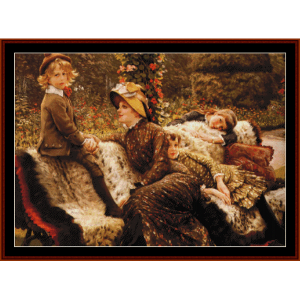 The Garden Bench - Tissot cross stitch pattern by Cross Stitch Collectibles | Crafting | Cross-Stitch | Wall Hangings