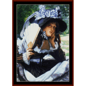 girl with a fan - tissot cross stitch pattern by cross stitch collectibles
