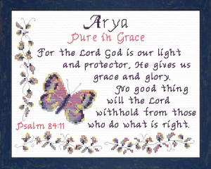 Name Blessings - Arya | Crafting | Cross-Stitch | Religious