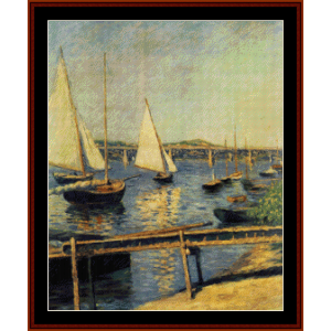 sailing boats at argenteuil - caillebotte cross stitch pattern by cross stitch collectibles