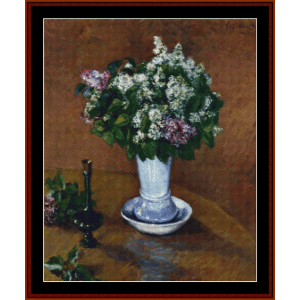 still life with lilacs - caillebotte cross stitch pattern by cross stitch collectibles
