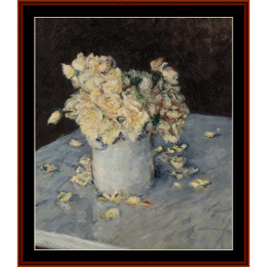 yellow roses in a vase - caillebotte cross stitch pattern by cross stitch collectibles