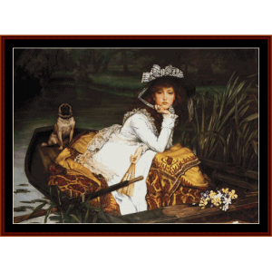 Young Lady in a Boat - Tissot cross stitch pattern by Cross Stitch Collectibles | Crafting | Cross-Stitch | Wall Hangings