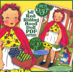 little red riding hood vintage doll e-pattern