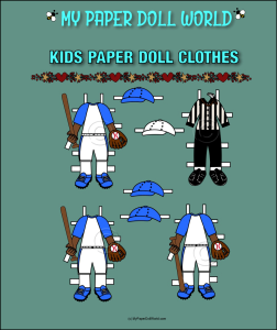 paper doll aa kids baseball clothing set 1 download