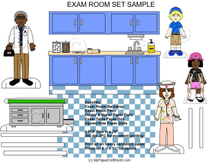 paper doll exam room scene download