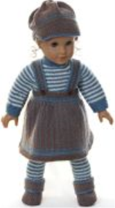 dollknittingpattern 0162d tobine - skirt, sweater, cap, pants and socks-(english)