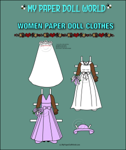 paper doll african american woman bridal clothes download