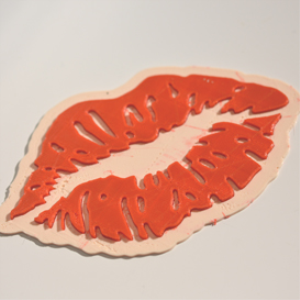 kiss my lips : dual color 3d printable badge-decal-sticker