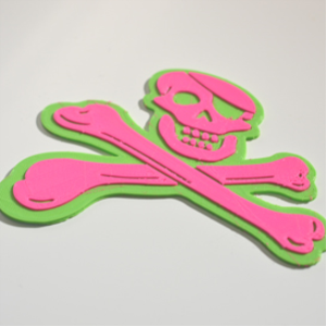 jolly roger crossbones : dual color 3d printable badge-decal-sticker