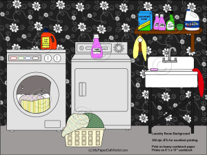 paper doll laundry room background download