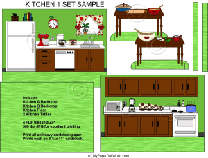 paper doll kitchen 1 room scene download