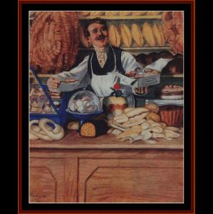baker, 1920 - kustodiev cross stitch pattern by cross stitch collectibles
