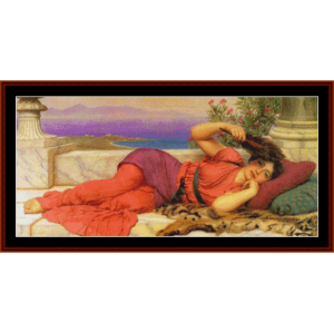 noon day rest, 1910 - godward cross stitch pattern by cross stitch collectibles