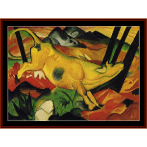 the yellow cow, 1911 - franz marc cross stitch pattern by cross stitch collectibles