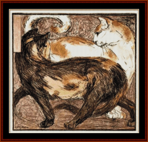 Two Cats, 1909 - Franz Marc cross stitch pattern by Cross Stitch Collectibles | Crafting | Cross-Stitch | Wall Hangings