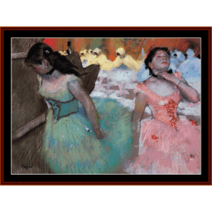 entrance of the masked dancers - degas cross stitch pattern by cross stitch collectibles