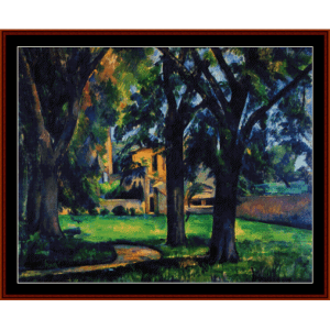 chestnut tree and farm - cezanne cross stitch pattern by cross stitch collectibles