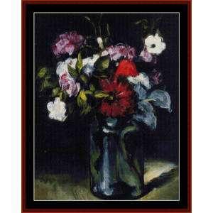 flowers in a vase, 1873 - cezanne cross stitch pattern by cross stitch collectibles