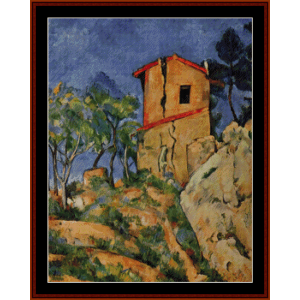 house with cracked walls - cezanne cross stitch pattern by cross stitch collectibles