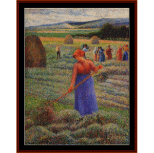 haymakers at eragny, 1889 - pissarro cross stitch pattern by cross stitch collectibles