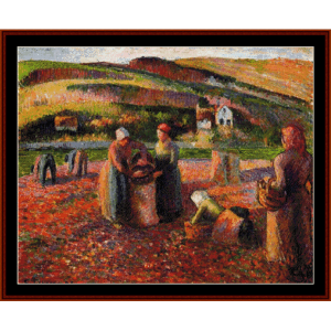 potato harvest, 1893 - pissarro cross stitch pattern by cross stitch collectibles