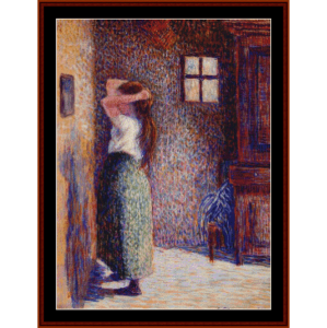 Young Peasant at her Toilette, 1888 - Pissarro cross stitch pattern by Cross Stitch Collectibles | Crafting | Cross-Stitch | Wall Hangings