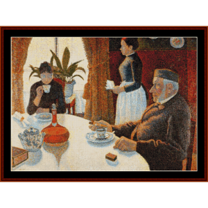 breakfast, the dining room - signac cross stitch pattern by cross stitch collectibles