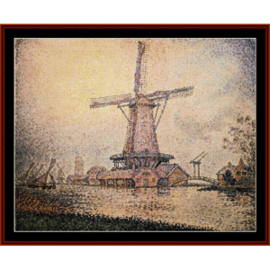 dutch mill at edam - signac cross stitch pattern by cross stitch collectibles