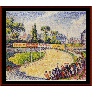 the velodrome, 1899 - signac cross stitch pattern by cross stitch collectibles